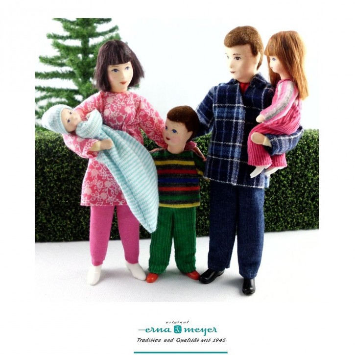 Familie 7 -  (Set bestehend aus Mama, Papa, Mädchen,Junge und Baby)
