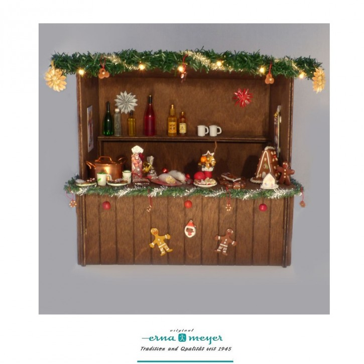 """Weihnachtsmarktstand """"Speisen und Getränke"""" im Maßstab 1:12"""