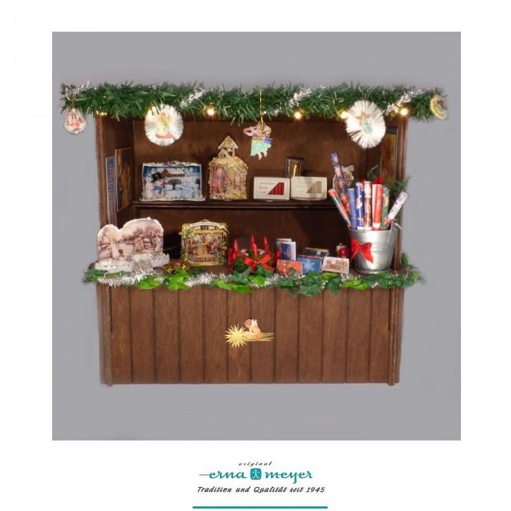 """Weihnachtsmarktstand """"Papier + Kerzen"""" im Maßstab 1:12"""