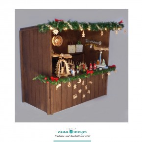 Handmade market stand made of stained wood in 1:12 scale